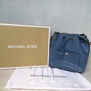 Michael Kors blue bucket bag